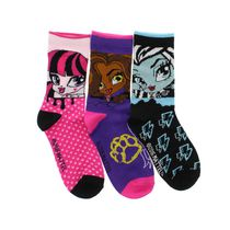 Monster High Girls' Crew Socks, Pack of 3 13-4
