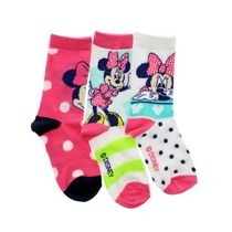 Minnie Mouse Girls' Crew Socks, Pack of 3 10-13