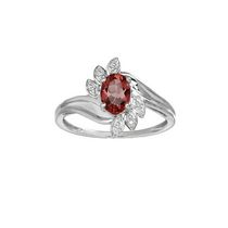 10Kt Birthstone and Diamond White Gold Genuine Garnet and Diamond Ring 7