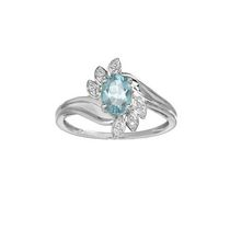10Kt Birthstone and Diamond White Gold Genuine Aquamarine and Diamond Ring 7
