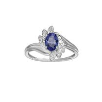 10Kt Birthstone and Diamond White Gold Created Blue Sapphire and Diamond Ring 5