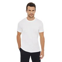 George Men's Short Sleeved Crewneck Cotton Tee White L/G