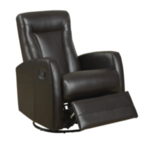 Monarch Dark Brown Bonded Leather Swivel Rocker Recliner