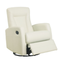 Monarch Bonded Leather Swivel Rocker Recliner Ivory