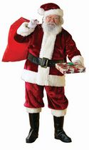 6 Piece Plush Crimson Santa Suit-XXL
