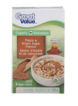 Great Value Organic Maple & Brown Sugar Flavour Instant Oatmeal