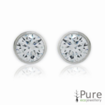 4mm CZ Hearts & Arrows Bezel Round Studs