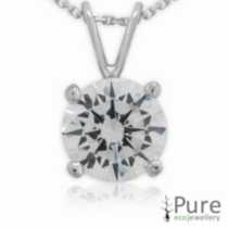 8mm CZ Hearts & Arrows Round Pendant with chain