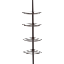 Hometrends Tub and Shower Tension Pole Caddy, 4 Shelf, Oil Rubbed Bronze