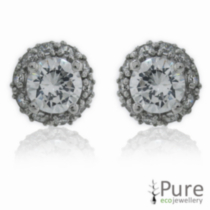 CZ Stud Earrings Sterling Silver