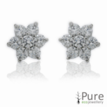 CZ Flower Stud Earrings Sterling Silver