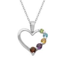 Sterling Silver Rhodium Plated Multi-Gemstone Journey Heart Pendant