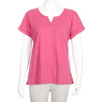 George Women's Split-Neck Pocket Cotton T-shirt Pink XL/TG