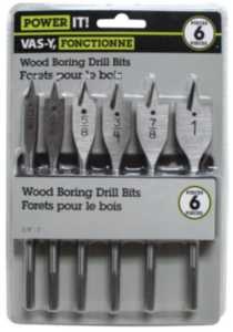 "6 pc Wood Boring Bit Set - 1/2"", 3/4"", 3/8"", 5/8"", 7/8"", 1"""