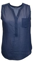 George Women's Plus Size Sleeveless Hi-Low Popover Blouse Navy 4x