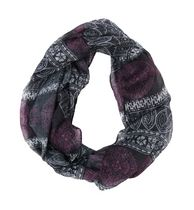 George Women's Light Weight Graphic Print Infinity Loop Scarf Purple