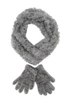 George Women's Feather Loop/Glove Set Light Grey
