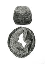 George Women's Mohair Snood/Hat Set Black Combo