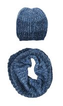 George Women's Mohair Snood/Hat Set Blue Combo