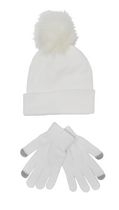 George Women's Knitted Hat/Glove Set White Combo
