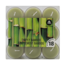 18-Pack Scented Tealights Simply Bamboo