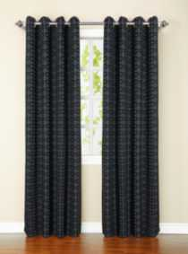 Chenille Jacquard Check Window Panel Grey