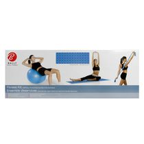 Bally fitness kit (65cm ball & two-way action pump, stretch band and exercise mat)