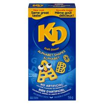 Portions Kraft Dinner en forme d'alphabet