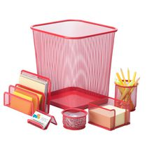 Honey-Can-Do 6-Piece Red Mesh Desk Set