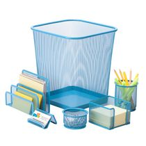 Honey-Can-Do 6-Piece Blue Mesh Desk Set