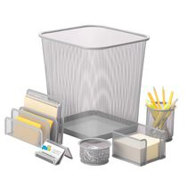 Honey-Can-Do 6-Piece Silver Mesh Desk Set