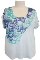 George Plus Ladies Printed Linen Top Aqua 2X