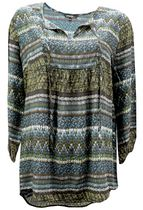 George Women's Long Sleeve Boho Peasant Blouse L