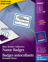 "Avery® Adhesive Name Badges Blue Border 5895, 2-1/3"" x 3-3/8"", Box of 400"