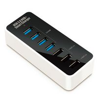 Concentrateur USB 3.0 SuperSpeed à 4 ports avec chargeur de Techly