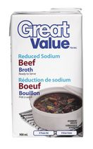 Bouillon de bœuf à teneur réduite en sodium de Great Value