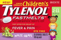 Junior Strength Children's TYLENOL® FASTMELTSTM 20 CT, White Grape FlavourJunior Strength Children's TYLENOL® FASTMELTSTM 20 CT, White Grape Flavour