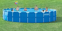 Intex 24 ft x 52 in Round Above Ground Metal Frame Pool Set