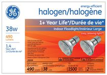 GE Energy-Efficient Halogen 38W PAR20 2PK