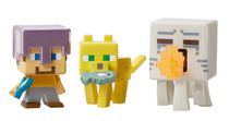 Minecraft Collectible Figures 3-Pack - Attacking Ghast, Ocelot with Fish and Steve with Mismatch Armor