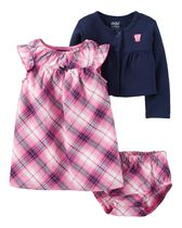 Child of Mine made by Carters Newborn Girl's 3 piece Plaid Dress Set 3-6