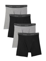 Fruit of the Loom Men's Black & Grey Boxer Briefs Pack of 4 L/G
