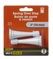 "3"" White Spring Door Stop 2 Pieces"