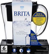 Brita® Space Saver Pitcher, Black, 6 Cup
