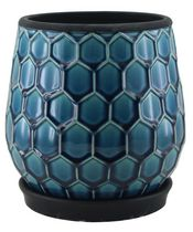 "hometrends 8"" Blue Honeycomb Ceramic Planter Blue"