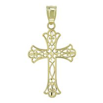Breloque filigrane en or crucifix, 10 ct - jaune