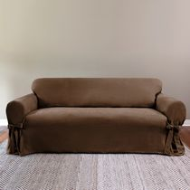 SureFit™ Suede Relaxed Fit Sofa Slipcover Chocolate Chocolate