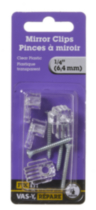 "1/4"" Clear Plastic Mirror Clip 4 Pieces"