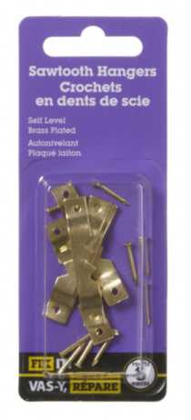Brass Plated Self-Level Sawtooth Hangers 5 Pieces