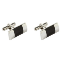 Stainless Steel Cufflinks with Black Onyx